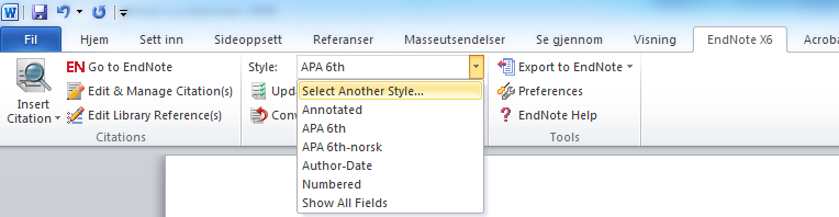 Endre stil (Output style) på referansene i et Word-dokument Velg Select another style: Du kan også velge stil via