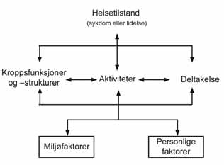 International Classification of Functioning, Disability and Health ICF (WHO 2001) Merk at det også er en relasjonell forståelse av funksjonshemming i International Classification of Functioning,