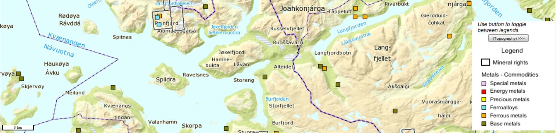 Claims NM Reinfjord Claims 5 km Leterettigheter areal: