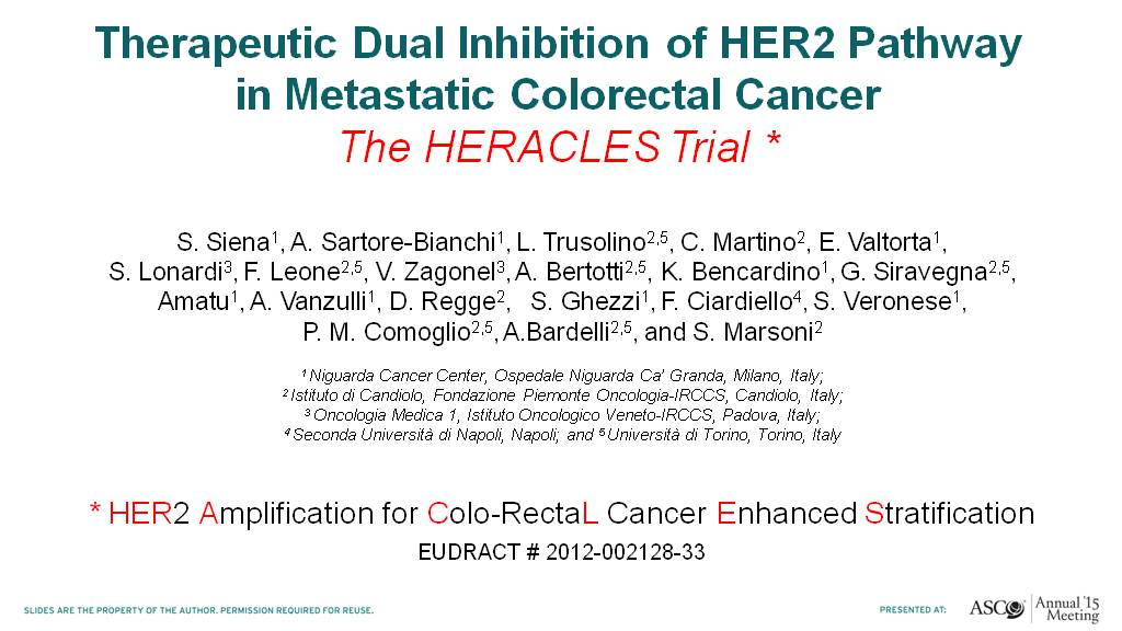 Therapeutic Dual Inhibition of HER2 Pathway<br />in Metastatic Colorectal Cancer