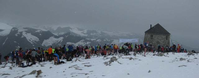 The Finish Line at the summit of the mountain Skaala 1848 metres above sea level in Loen was crowded when 1500 participants set a new record for