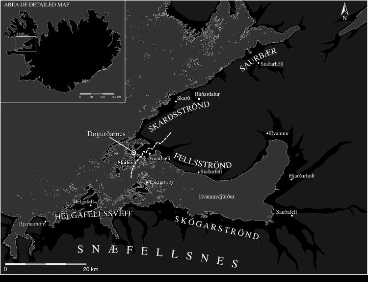 If we consider a map of just the bay of Breiðafjörður Dögurðarnes looks to be highly central for that wide region (see Figure 2).