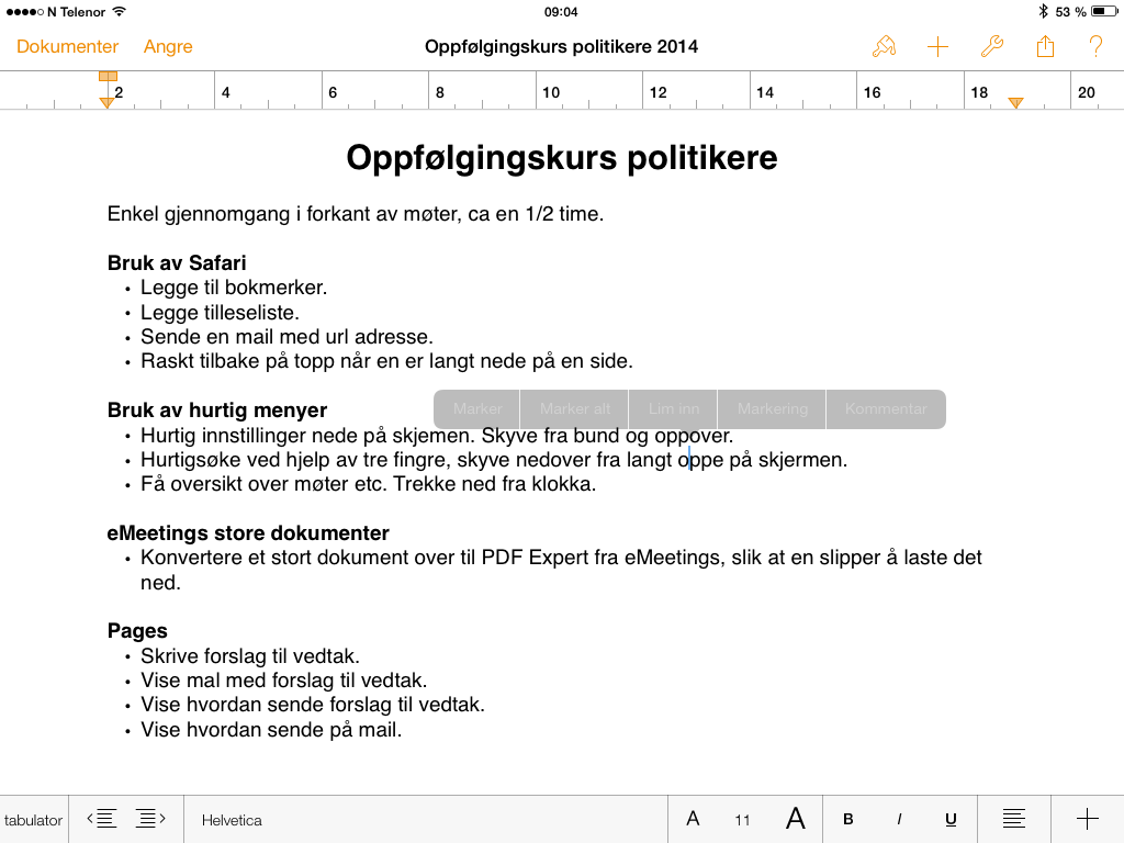 emeetings - app for å lese sakskart