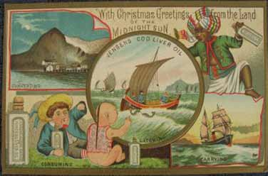 1000 år En julehilsen viser tranas vei fra Lofoten til alle verdens barn, ca år 1900 A Christmas card showing the cod liver oil s journey fromlofoten to the children of the world, c.