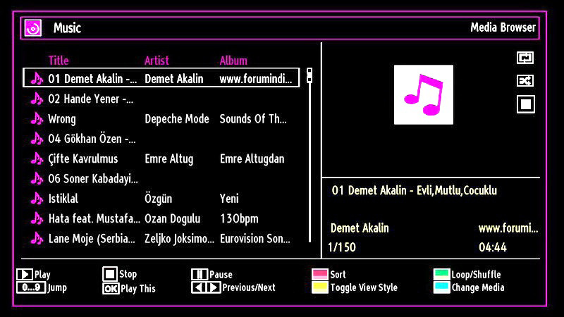 Playing Music via USB When you select Music from the main options, available audio files will be filtered and listed on this screen.
