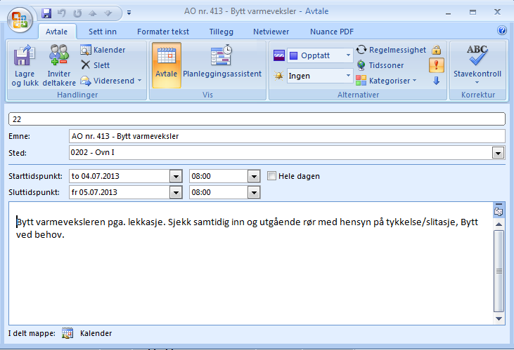 Eksempel på ICS-fil åpnet i Outlook 2007 Man får da varsling via sin egen Outlook, Lotus Notes eller lignende. Kravet er at e- postklienten kan lese en standard ICS-fil.