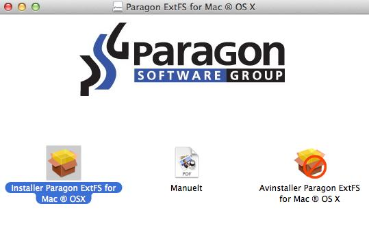 6 Snow Leopard, 10.7 Lion og 10.8 Mountain Lion x86 arkitektur 128 MB RAM Installere driveren Gjør følgende for å installere Paragon ExtFS for Mac OS X: 1.