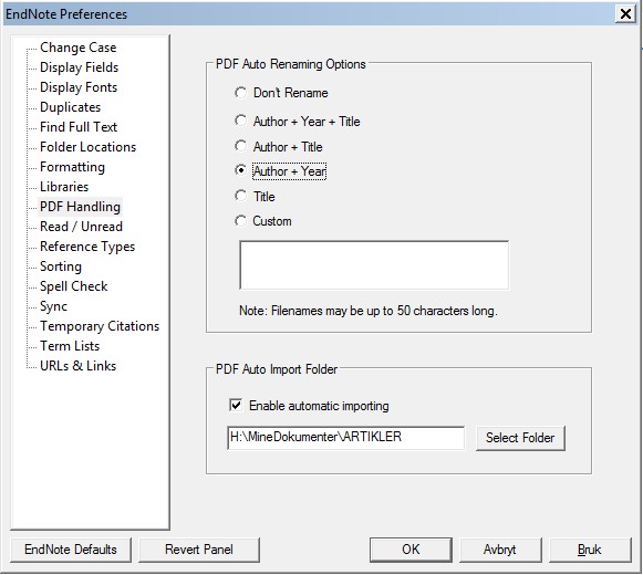 Automatisk import av pdf-filer Edit > Preferences > PDF Handling Kryss av for Enable automatic importing og velg hvilken mappe som skal overvåkes.