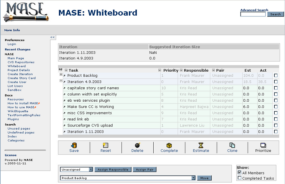 Chapter 2 Theory Figure 2.6: MASE project planning whiteboard - example tool for maintaining the product & sprint backlog.