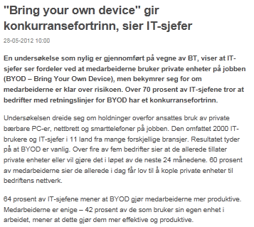 Aker ASA og BOYD (Bring your own device) Fungerer alle