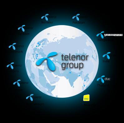 Telenor Group Mobile operations in 12 markets in Norway, Europe and Asia A voting stake of 43 per cent (economic stake 33 per cent) in VimpelCom Ltd.
