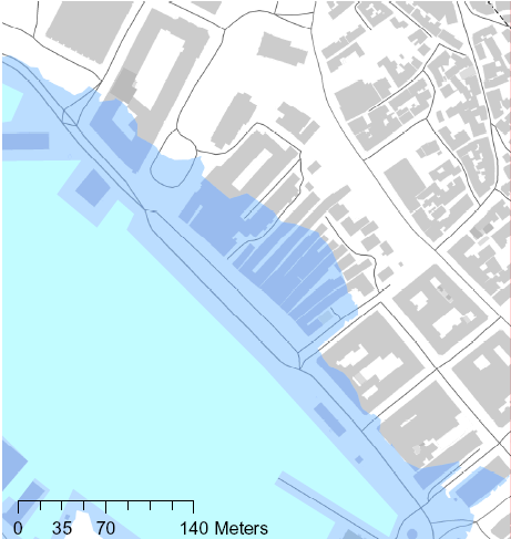 flood barrier along the quay Lifting up critical buildings Calculated Flooded area at high