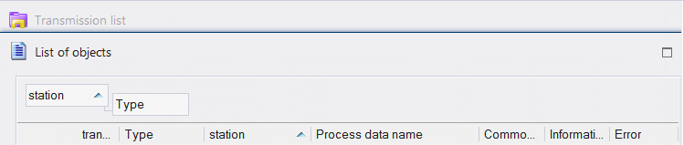 OPC Server - transmission list Control Centre Connect IT 104