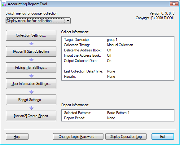 Data Collection Data Collection This section explains how to collect counter information with Accounting Report Tool. By setting the collection timer, you can periodically perform data collection.
