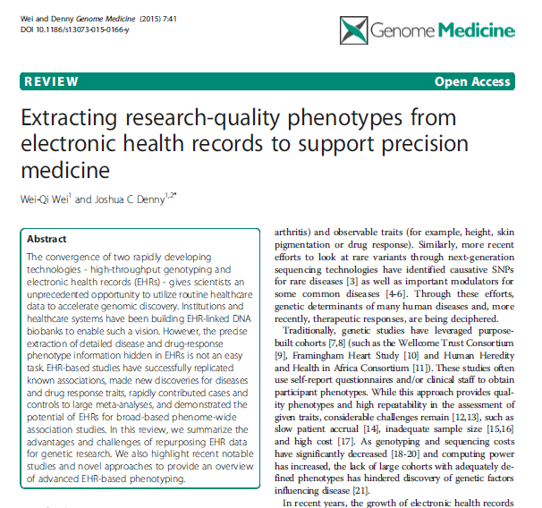 Combining Electronic Health Record phenotypes and genetic data MAI 2015 Forskerne ved Vanderbilt University