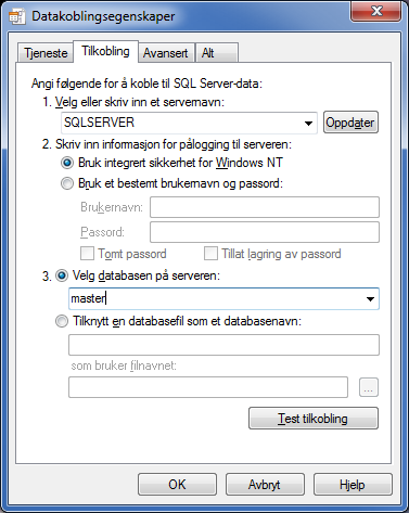 Først setter du Provider til Microsoft OLE DB Provider for SQL Server. Deretter velger du server, Windows NT Integrated security og databasen master. Trykk på [Test Connection].
