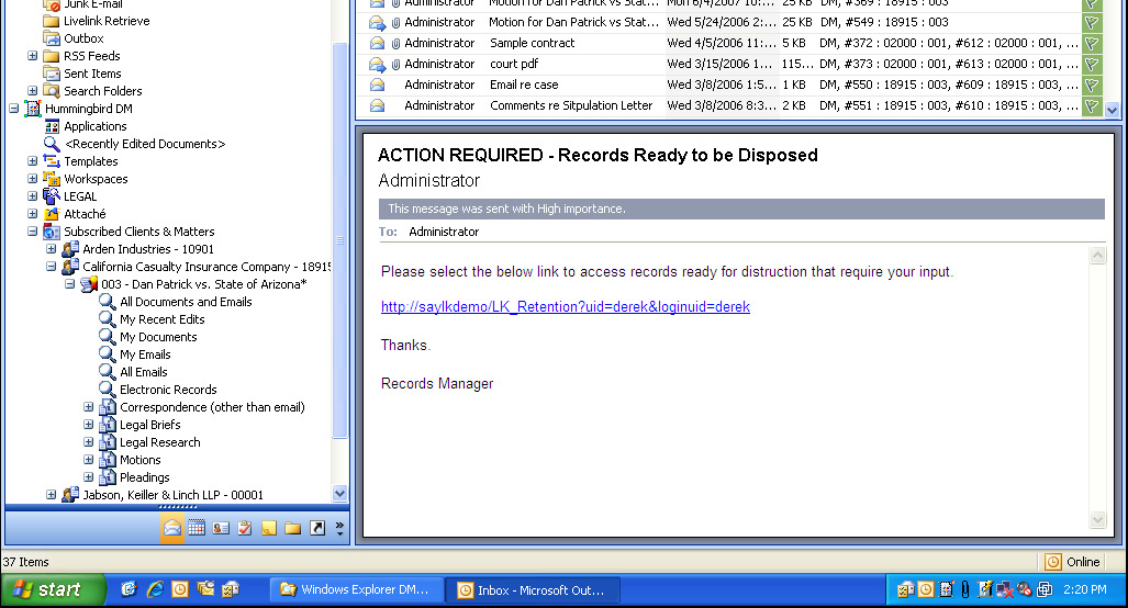 the edocs DM library are identified in Outlook by using the flags