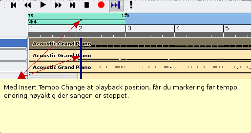 9 HVORDAN ENDRE TEMPO I ROSEGARDEN 9.1 Insert Tempo Change 7. Edit Time Signature... 8. Open Tempo And Time Signature Editor 9.