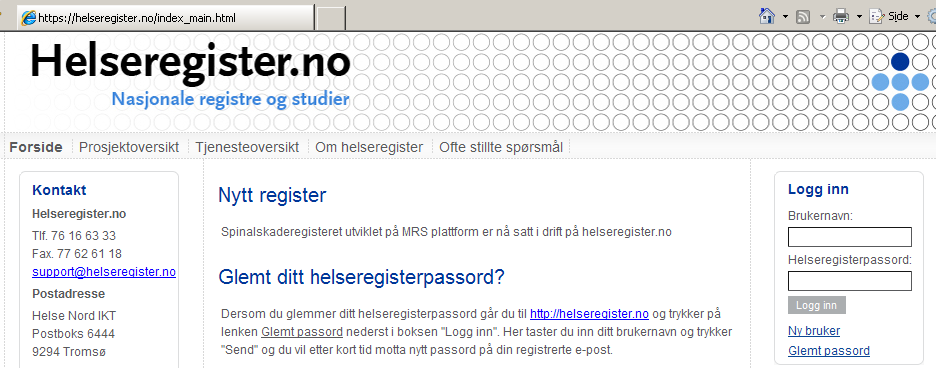 Brukermanual for tilgang til helseregister.