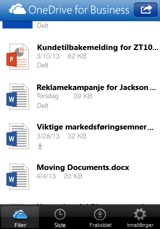 Bruke appen OneDrive for Business for Office 365- abonnenter Når du har logget på tar OneDrive for Business-appen deg direkte til filene og mappene, slik at du kan vise og arbeide med filene