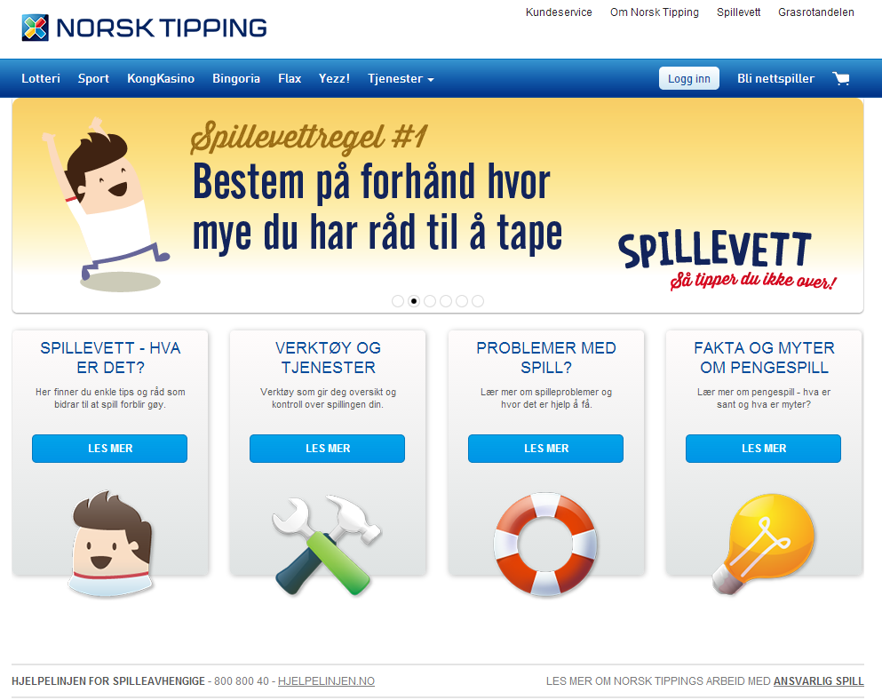 Dedikert web-side for spillere og