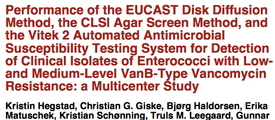 In conclusion, boththeeucast disk diffusionand CLSI agar screening methods performed acceptably (sensitivity, 0.