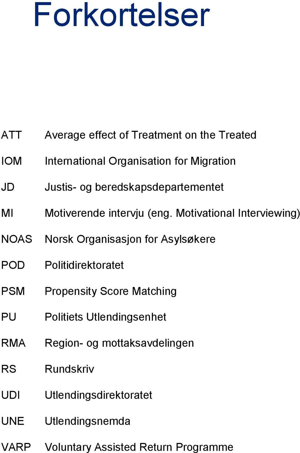 Motivational Interviewing) Norsk Organisasjon for Asylsøkere Politidirektoratet Propensity Score Matching