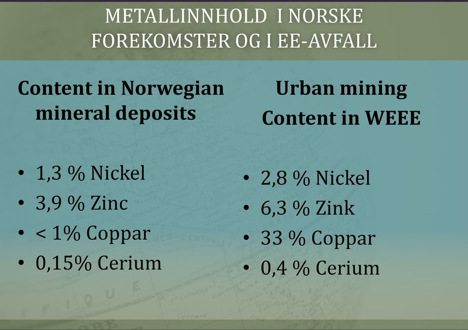 Content in WEEE 1,3 % Nickel 3,9 % Zinc < 1% Coppar