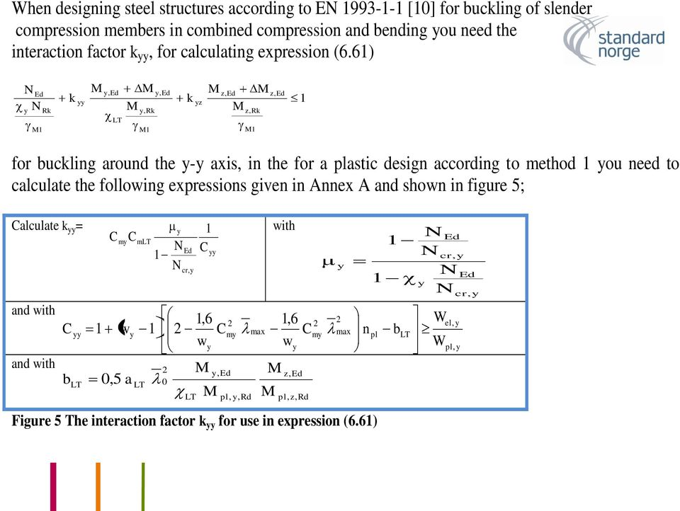 61) N N y Ed M1 Rk k yy M y,ed LT M M y,rk M1 y,ed k yz M z,ed M z,rk M1 M z,ed 1 for buckling around the y-y axis, in the for a plastic design according to method 1 you need to calculate the