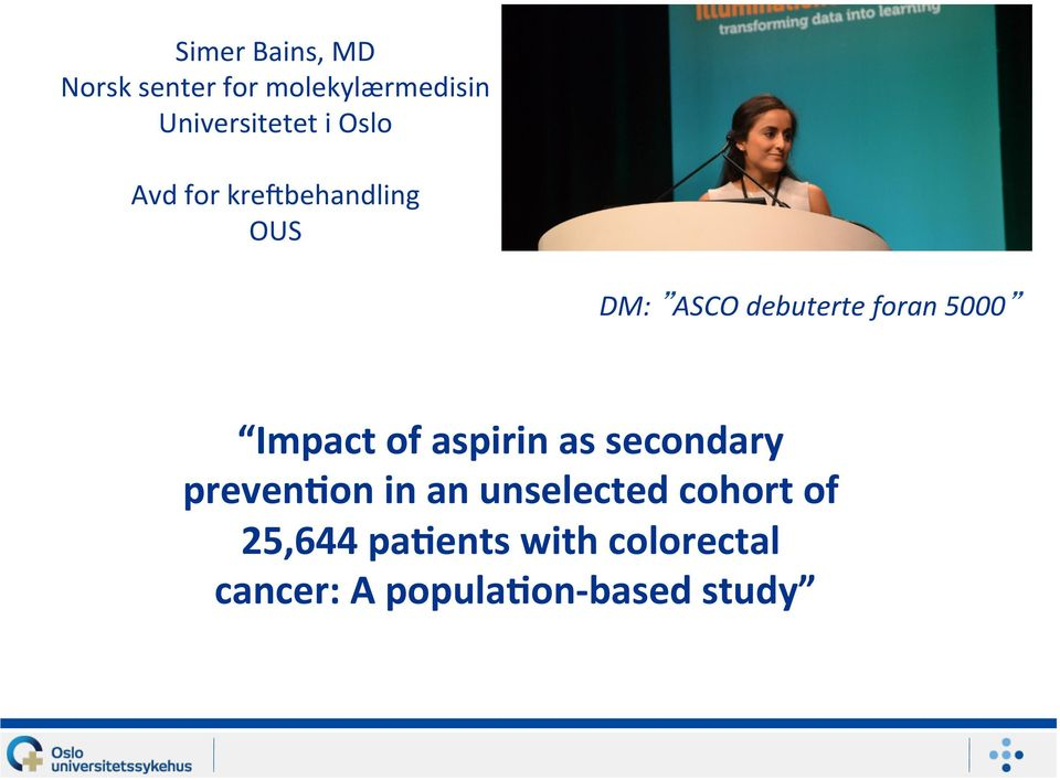 Impact of aspirin as secondary preven3on in an unselected cohort