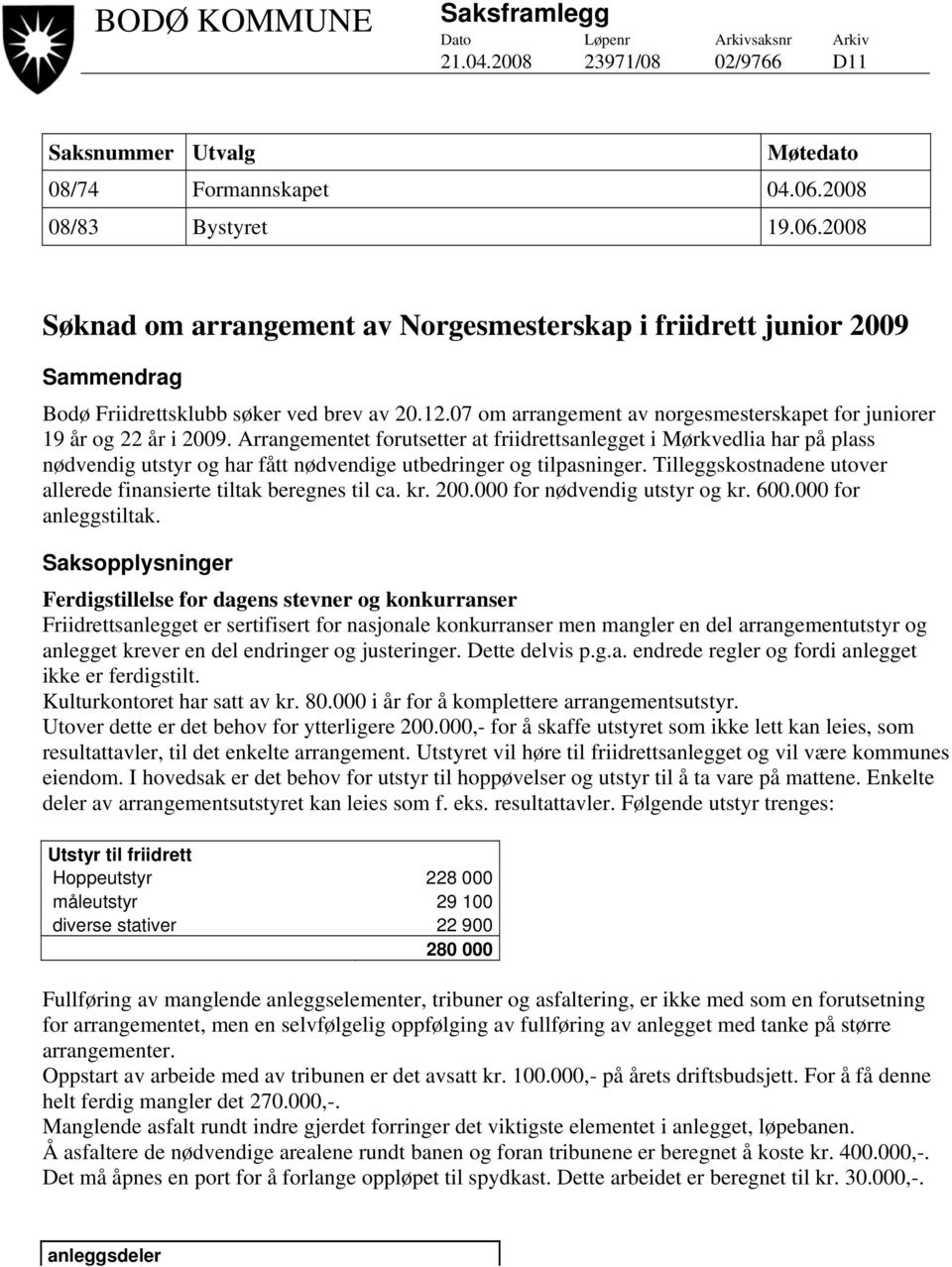 07 om arrangement av norgesmesterskapet for juniorer 19 år og 22 år i 2009.