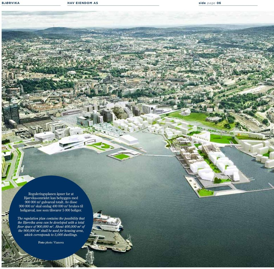 The regulation plan contains the possibility that the Bjørvika area can be developed with a total floor space of 900,000