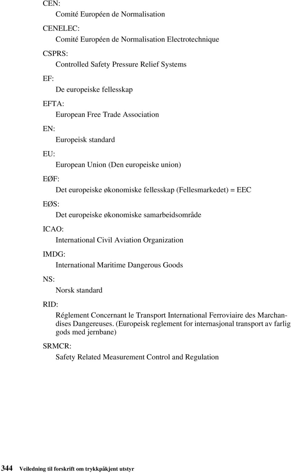 ICAO: International Civil Aviation Organization IMDG: International Maritime Dangerous Goods NS: Norsk standard RID: Réglement Concernant le Transport International Ferroviaire des Marchandises