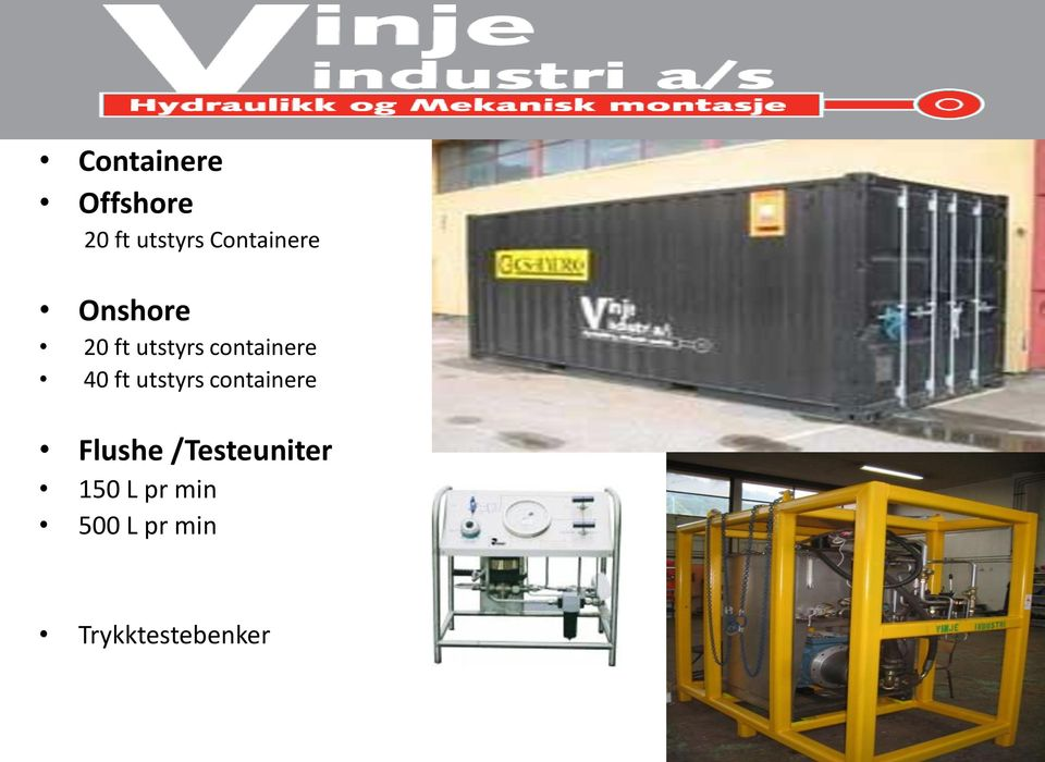 containere 40 ft utstyrs containere