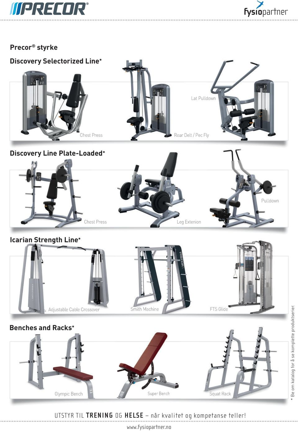 Strength Line* Benches and Racks* Adjustable Cable Crossover Smith Machine FTS