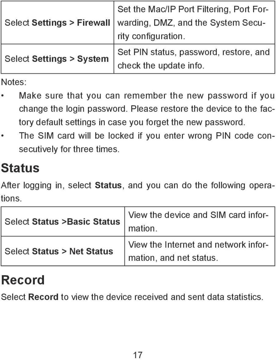 Please restore the device to the factory default settings in case you forget the new password. The SIM card will be locked if you enter wrong PIN code consecutively for three times.
