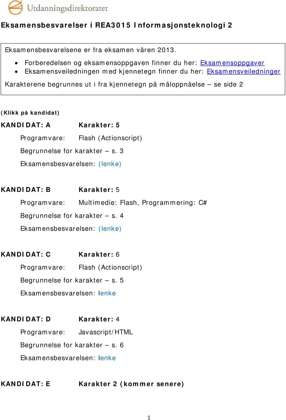 side 2 (Klikk på kandidat) KANDIDAT: A Karakter: 5 Programvare: Flash (Actionscript) Begrunnelse for karakter s.