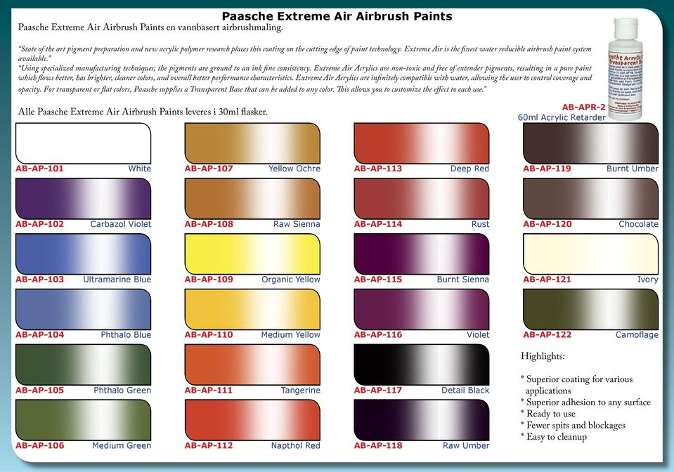 Extreme Air is the finest water reducible airbrush paint system available. Using specialized manufacturing techniques; the pigments are ground to an ink fine consistency.
