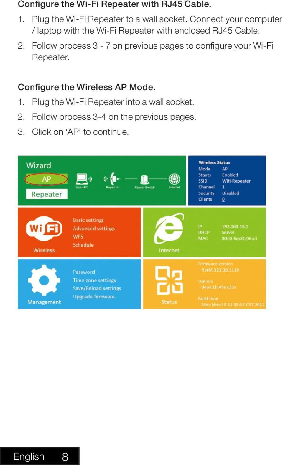 Follow process 3-7 on previous pages to configure your Wi-Fi Repeater. Configure the Wireless AP Mode.