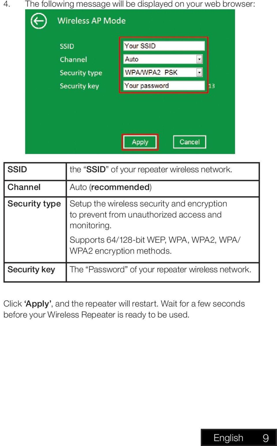 Auto (recommended) Setup the wireless security and encryption to prevent from unauthorized access and monitoring.