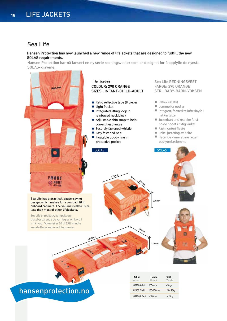 : INFANT-CHILD-ADULT Sea Life REDNINGSVEST FARGE: 290 ORANGE STR.