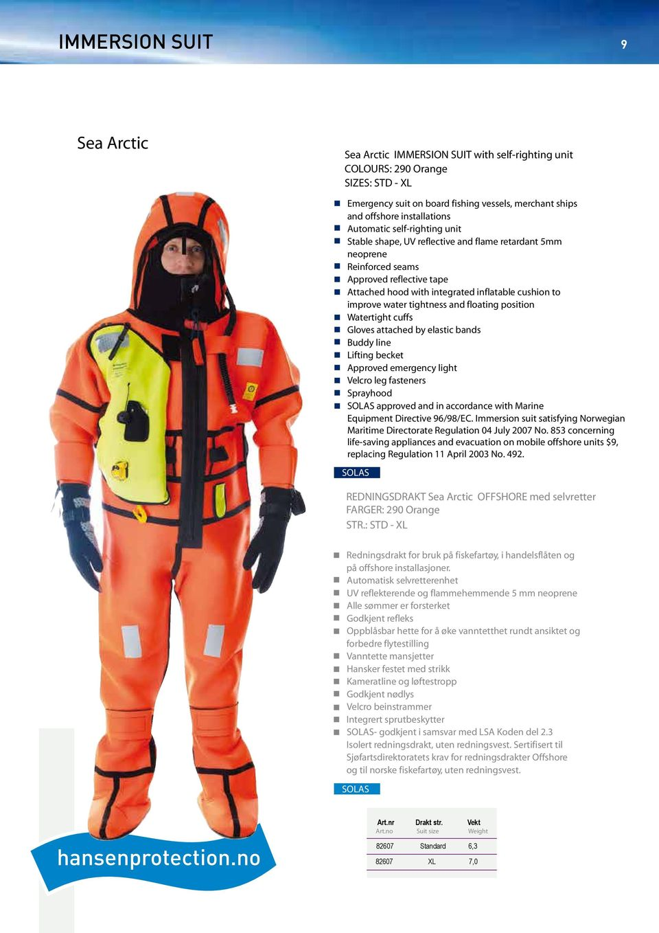 tightness and floating position Watertight cuffs Gloves attached by elastic bands Buddy line Lifting becket Approved emergency light Velcro leg fasteners Sprayhood approved and in accordance with
