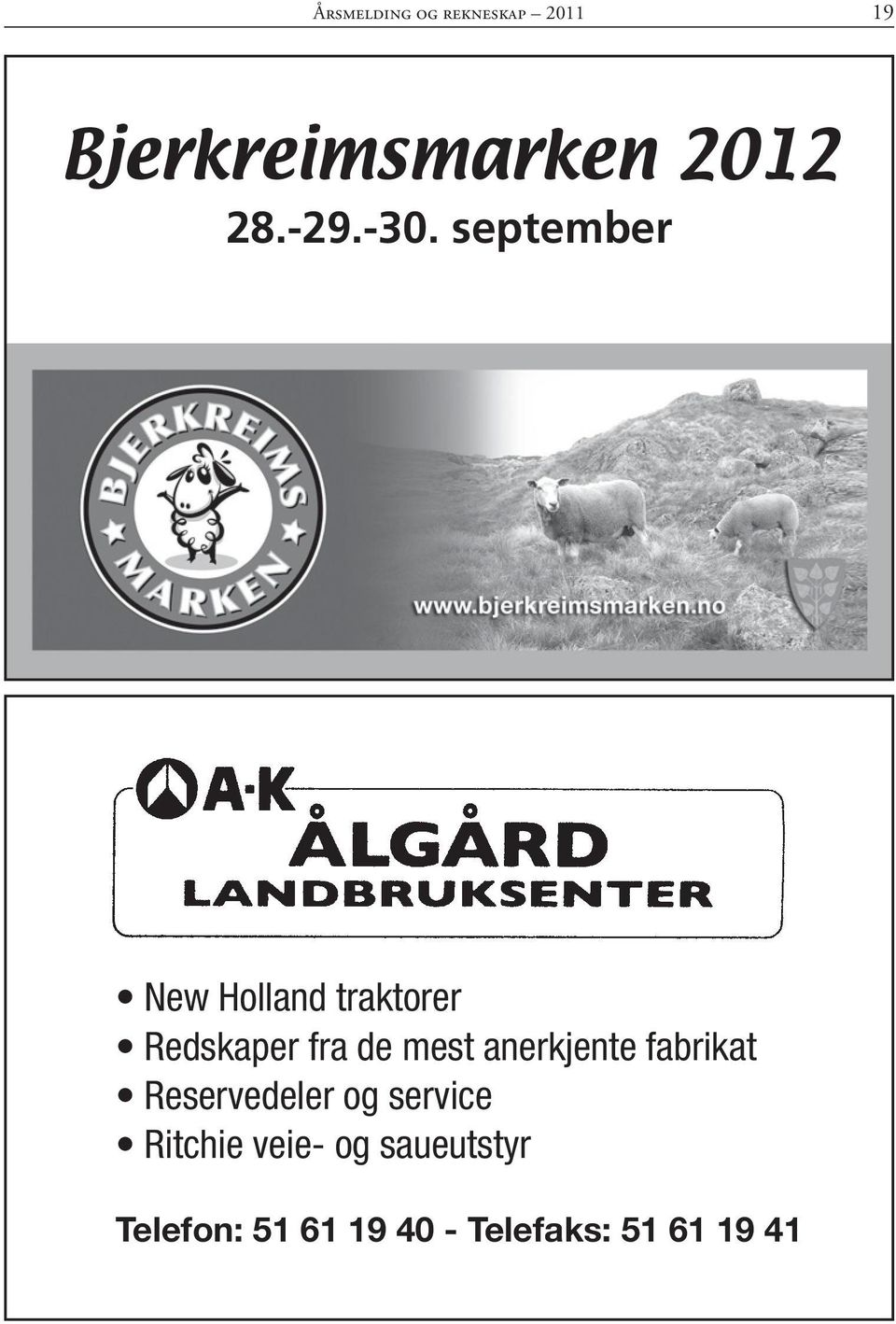 september New Holland traktorer Redskaper fra de mest