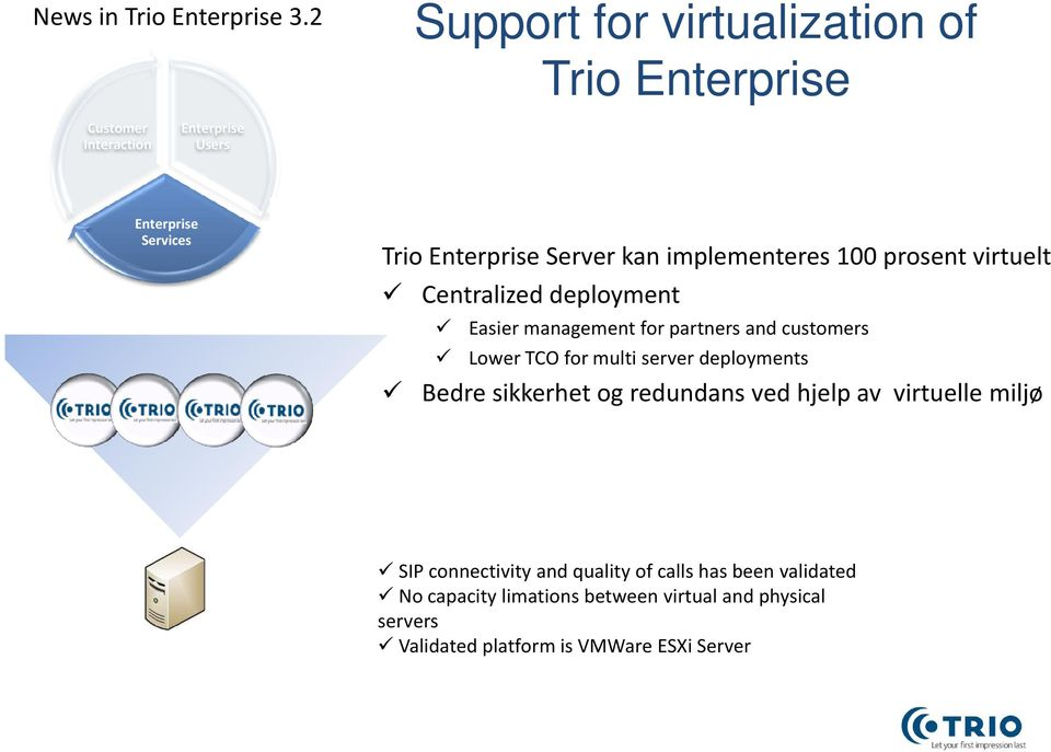 deployment Easier management for partners and customers Lower TCO for multi server deployments Bedre