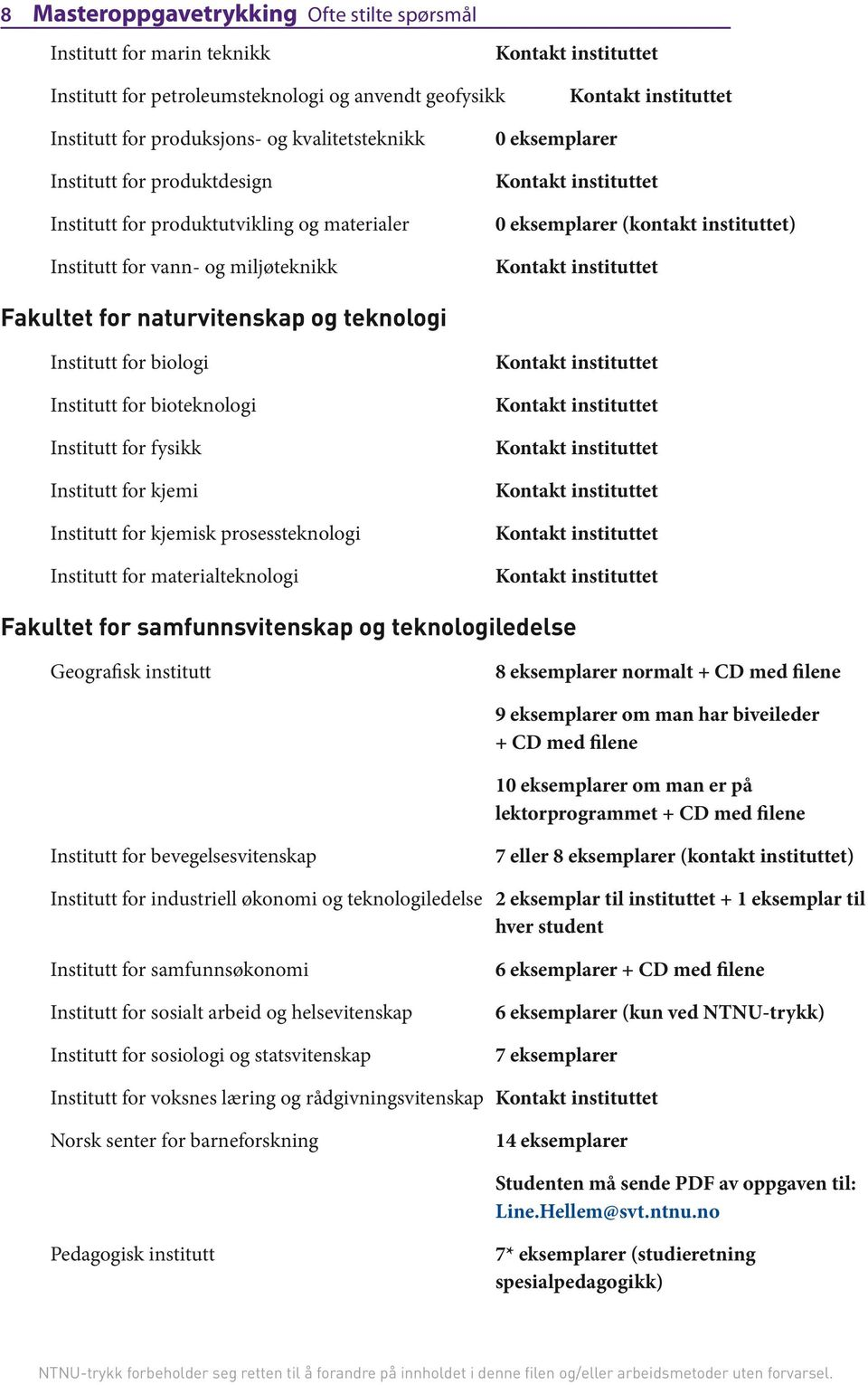 biologi Institutt for bioteknologi Institutt for fysikk Institutt for kjemi Institutt for kjemisk prosessteknologi Institutt for materialteknologi Fakultet for samfunnsvitenskap og teknologiledelse