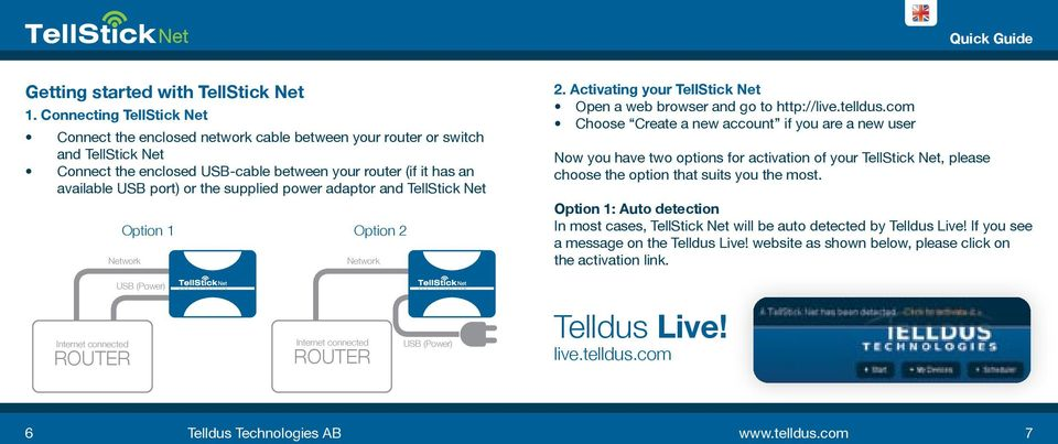 supplied power adaptor and TellStick Net Option 1 Network Option 2 Network 2. Activating your TellStick Net Open a web browser and go to http://live.telldus.