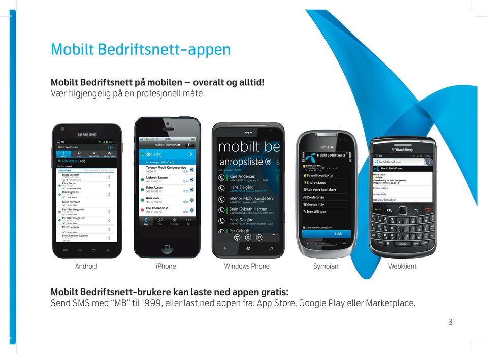 Android iphone Windows Phone Symbian Webklient Mobilt Bedriftsnett-brukere kan