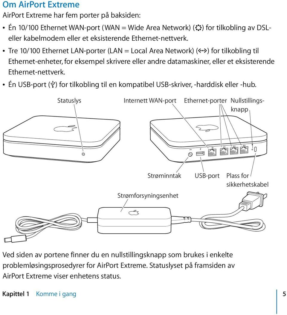Tre 10/100 Ethernet LAN-porter (LAN = Local Area Network) (G) for tilkobling til Ethernet-enheter, for eksempel skrivere eller andre datamaskiner, eller et eksisterende   Én USB-port (d) for