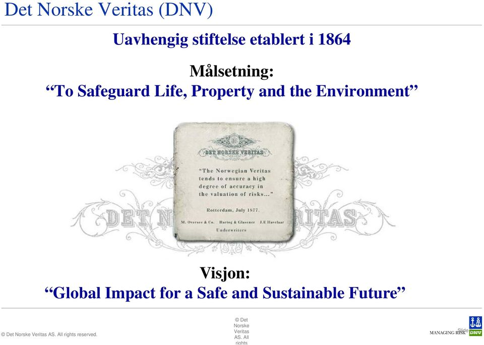 Environment Visjon: Global Impact for a Safe and