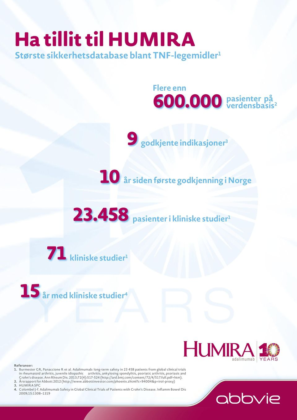 Adalimumab: long-term safety in 23 458 patients from global clinical trials in rheumatoid arthritis, juvenile idiopathic arthritis, ankylosing spondylitis, psoriatic arthritis, psoriasis and Crohn s